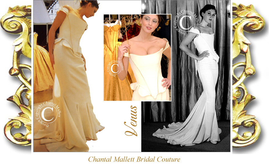 Classic, couture cream crepe corseted wedding gown with fishtail by Chantal Mallett.