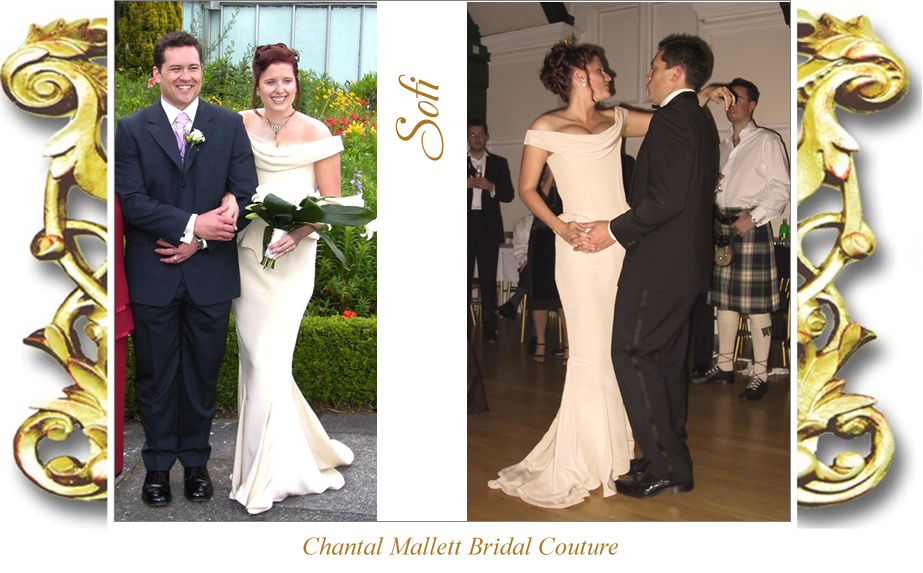Bespoke cream crepe corseted wedding gown with fishtail by Chantal Mallett.