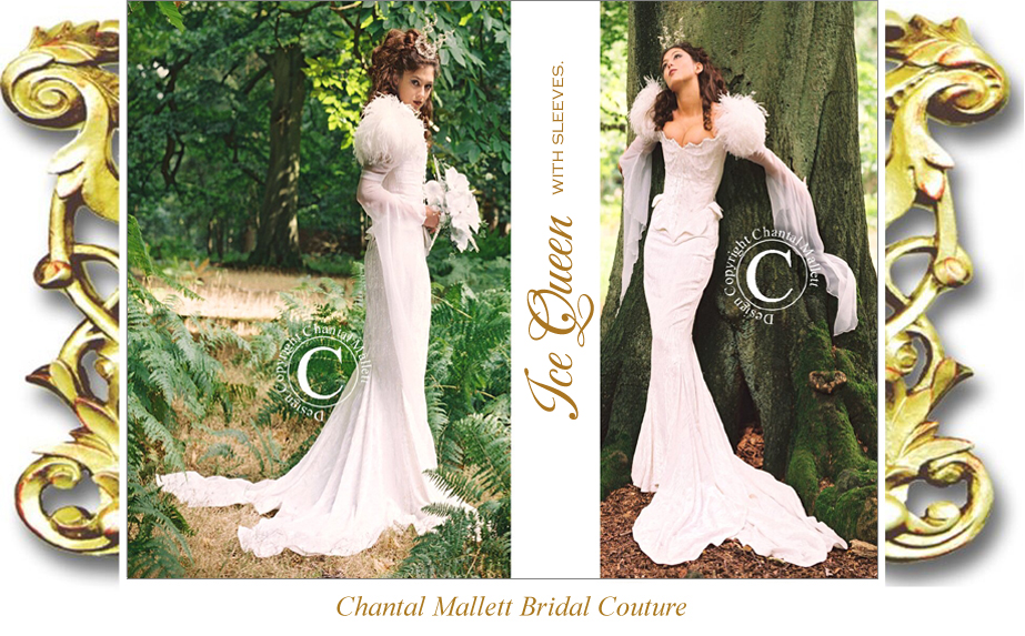 Bespoke ivory velvet corseted wedding gown with mermaid skirt, georgette medieval sleeves & ostrich feathers by Chantal Mallett.