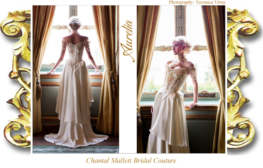 Couture ivory silk crepe & tulle corseted wedding gown with apricot hand painted lace & waterfall skirt by Chantal Mallett