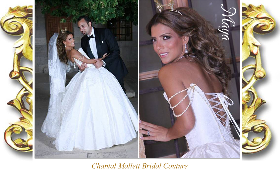 Bespoke ivory silk brocade corseted wedding gown with full, ballgown skirt  by Chantal Mallett