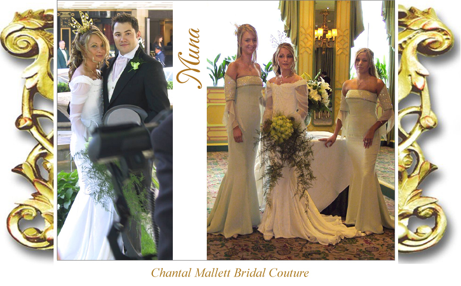 Couture ivory velvet corseted wedding gown with fishtail & medieval georgette sleeves by Chantal Mallett.