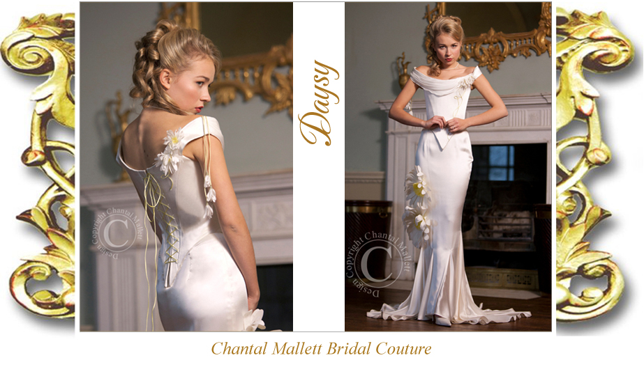 Couture ivory satin crepe corseted wedding gown with fishtail & trimmed with daisies by Chantal Mallett.