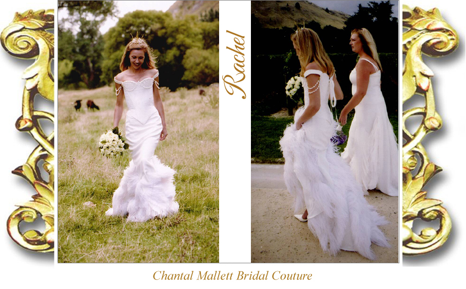 Bespoke ivory silk brocade corseted wedding dress with crepe & feather fishtail by Chantal Mallett.