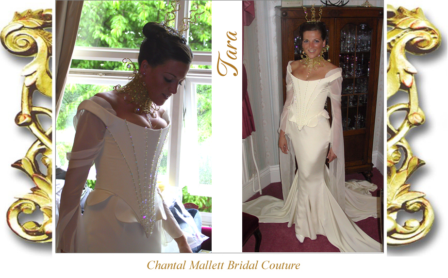 Couture cream crepe corseted wedding gown with fishtail & medieval chiffon sleeves by Chantal Mallett.