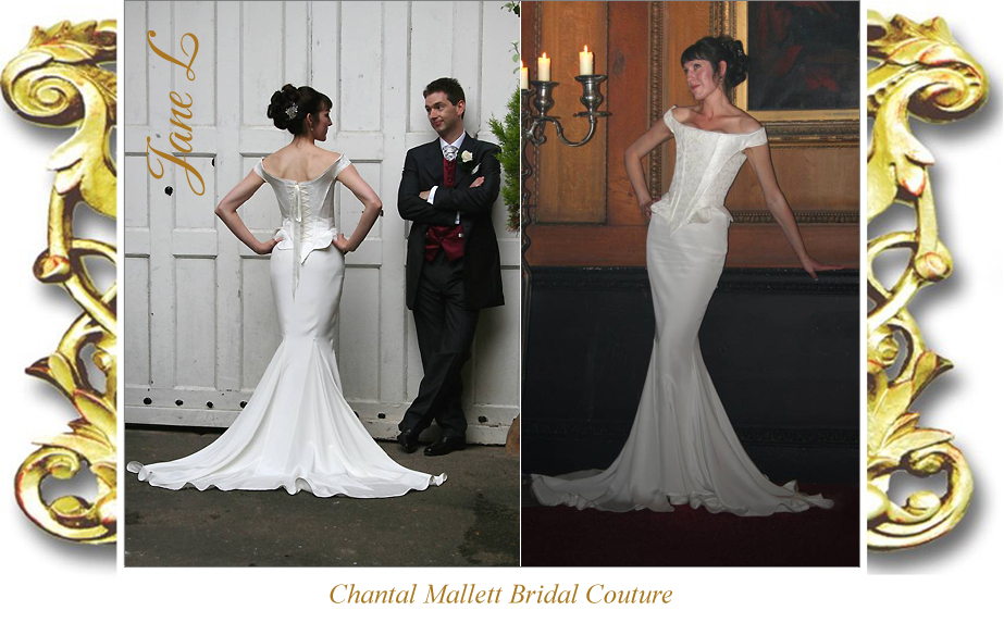 Bespoke ivory silk brocade corseted wedding gown with crepe fishtail by Chantal Mallett.