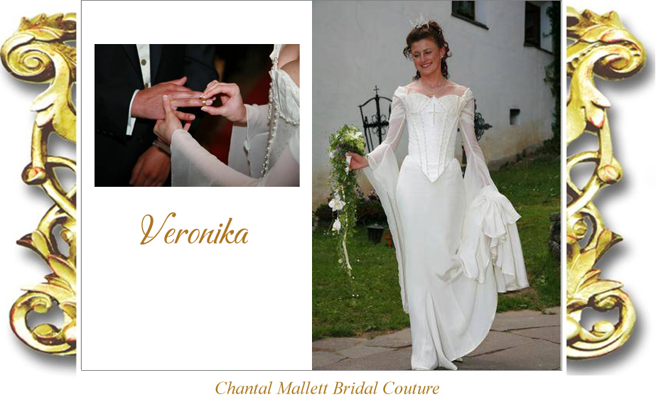 Bespoke ivory silk brocade corseted wedding gown with crepe fishtail & georgette medieval sleeves by Chantal Mallett.