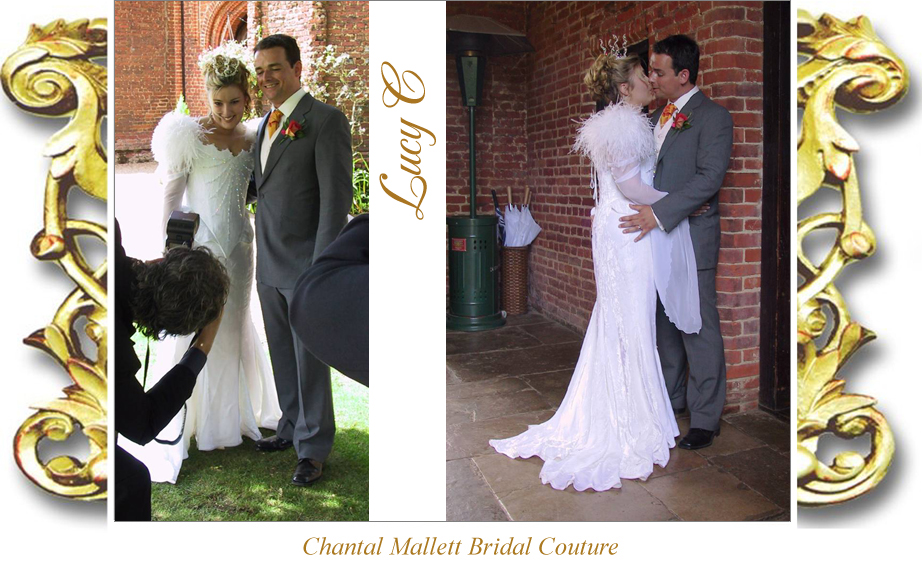 Bespoke ivory velvet corseted wedding gown with fishtail, feathers & medieval sleeves by Chantal Mallett.