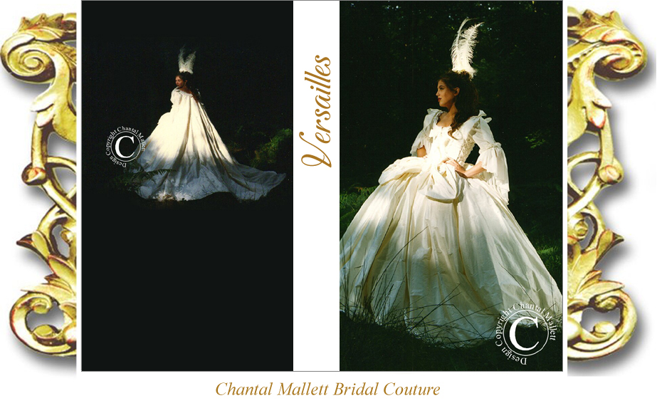 Couture ivory silk Marie Antoinette full skirted, corseted wedding dress with french revolution sleeves & opera cape by Chantal Mallett.