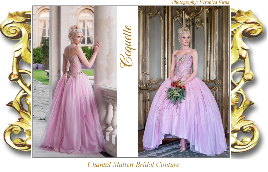 Couture pink tulle & gold lace corseted wedding dress with ballgown skirt by Chantal Mallett.