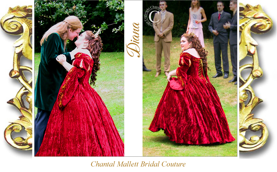 Couture, red velvet corseted wedding gown with ballgown skirt & tudor sleeves by Chantal Mallett